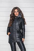 Зимний теплый спортивный костюм, лыжный стеганый синтепон дутый женский, черная куртка на овчине и штаны