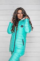 Зимний теплый спортивный костюм, куртка на овчине брюки лыжный стеганый синтепон дутый женский, ментол
