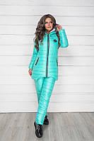 Зимний теплый спортивный костюм, лыжный стеганый синтепон дутый женский, ментол удлиненная куртка и штаны
