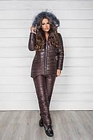 Зимний теплый спортивный костюм, лыжный стеганый синтепон дутый женский, коричневый куртка и штаны плащевка