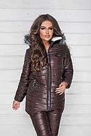 Зимний теплый спортивный костюм, лыжный стеганый синтепон дутый женский, коричневый удлиненная куртка и брюки