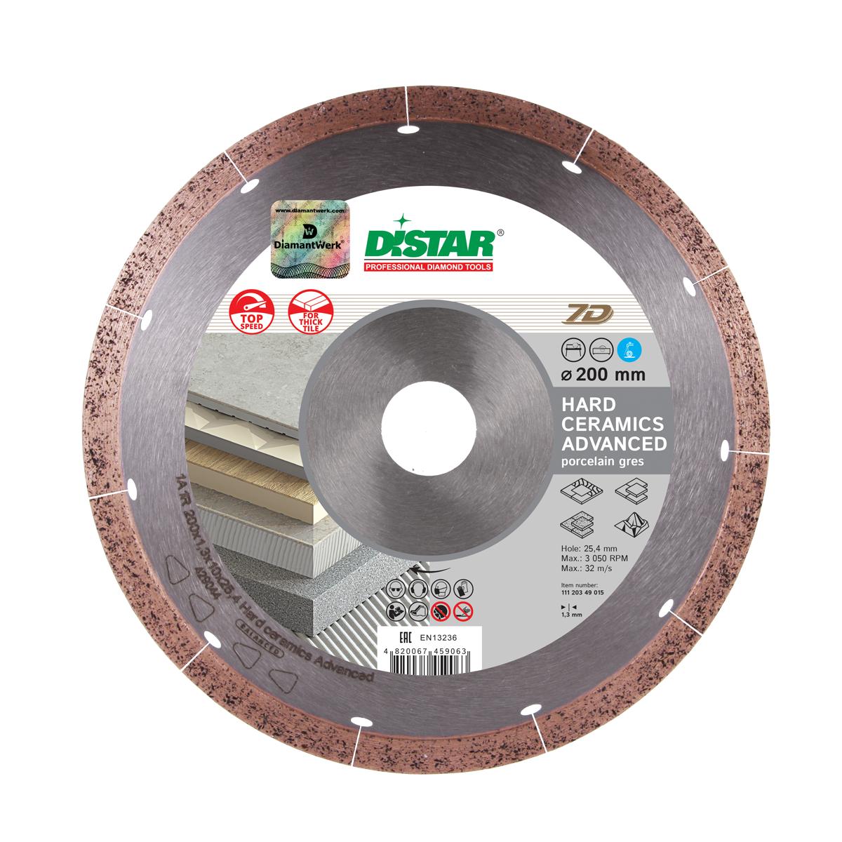 Круг алмазный отрезной Distar 1A1R 200x1,3x10x25,4 Hard ceramics Advanced