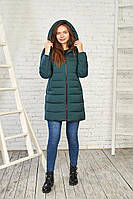 Теплая женская куртка на зиму 28216 (темно-зеленый) от Black&Red