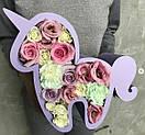 Пено-бокс для цветов - Единорожка 25,5*25*10 (крашеный белый), фото 3