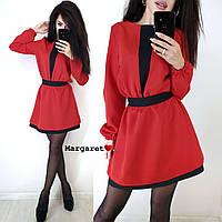 Красное женское платье с поясом осенее сукня червона жіноча з поясом