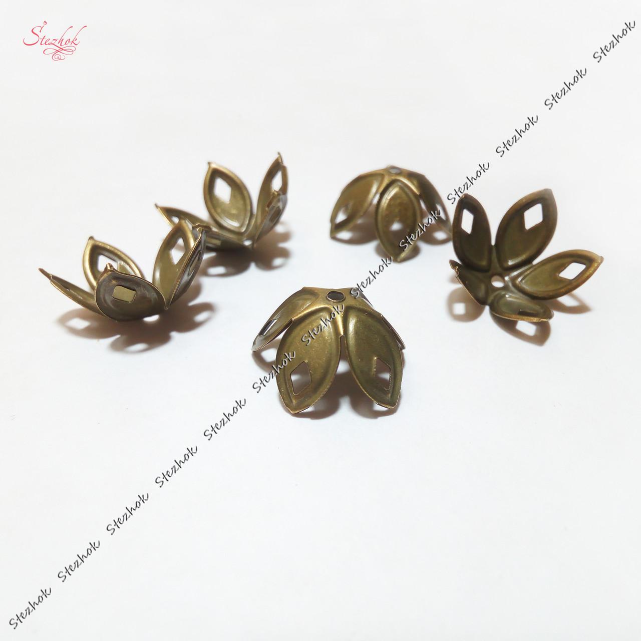 Металлические филигранные шапочки для бусин 18 мм для рукоделия цвет бронза
