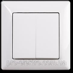 Вимикач 2 клавішний, без підсвітки, Gunsan (Visage), білий