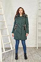 Зимний женский пуховик темно-зеленого цвета 27240 Black&Red 3XL