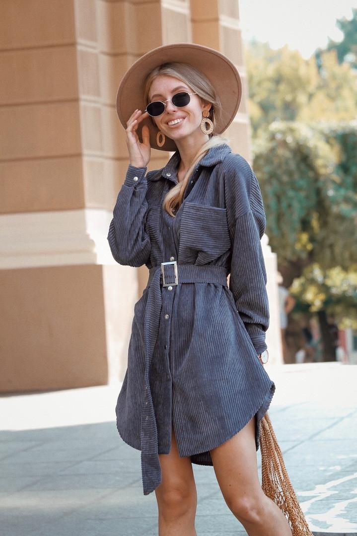 Платье-рубашка, ткань: вельвет. Размер:  С(42-44)М(44-46). Разные цвета (1158)