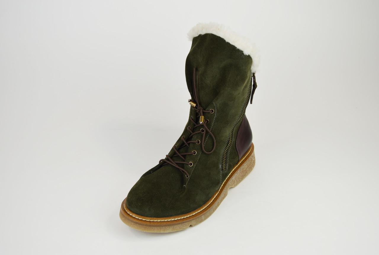 Ботинки зимние хаки с косой молнией DD 267