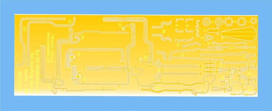 Набор фототравления для деталировки самолета Су-35. 1/48 METALLIC DETAILS MD4834, фото 2