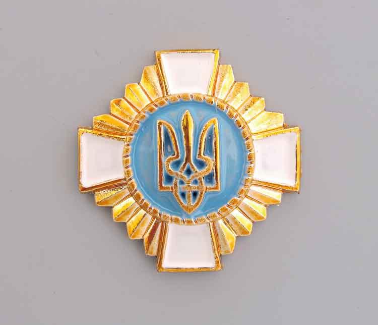 Крест на аксельбант(Кокарда казачества Украины) белый
