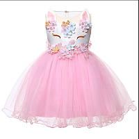 Детское бальное платье Единорог, нарядное платье для девочки р 80 - 86