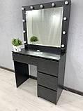 Стіл для макіяжу з LED-лампами V456 чорний, фото 3
