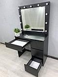 Стіл для макіяжу з LED-лампами V456 чорний, фото 4