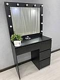 Стіл для макіяжу з LED-лампами V456 чорний, фото 5