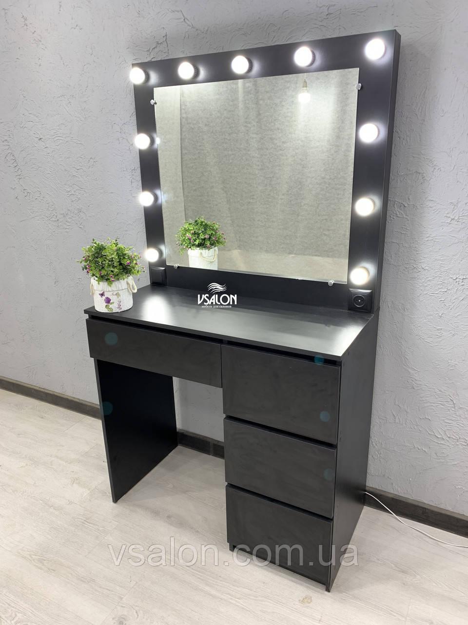 Стіл для макіяжу з LED-лампами V456 чорний