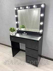 Стол для макияжа с LED лампами V456 черный