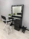 Стіл для макіяжу з LED-лампами V456 чорний, фото 2