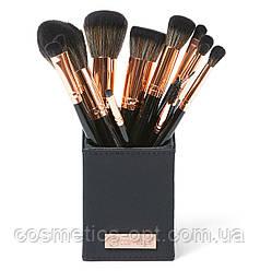 ПРИМЯТЫЕ ВЕРХНИЕ КАРТОННЫЕ КОРОБОЧКИ! Кисти для макияжа с подставкой BH Cosmetics Signature Rose Gold, 13 шт