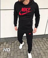 Зимний спортивный костюм, костюм на флисе Nike, черный с капюшоном