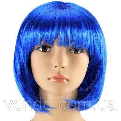 Парик каре синий 35 см