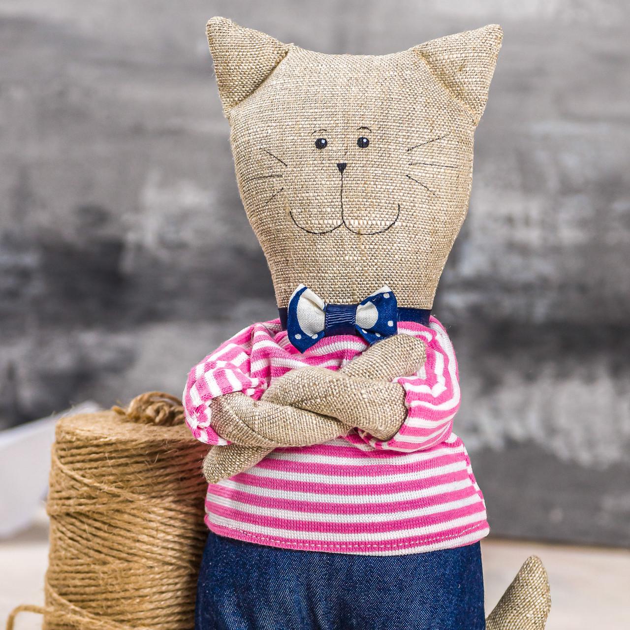 """Мягкая игрушка ручная работа лен кот высота: 28 см """"звірята-хіпстерята"""" кіт одежда снимается"""