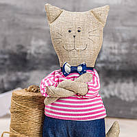 "Мягкая игрушка ручная работа лен кот высота: 28 см ""звірята-хіпстерята"" кіт одежда снимается, фото 1"