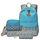 Стильный женский городской рюкзак 3 в 1 в скандинавском стиле тканевый 01036, фото 5
