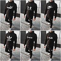 Мужской спортивный костюм черный (штаны+худи)
