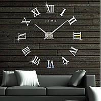 Настенные часы с 3D эффектом Римские цифры Silver