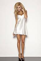 Ночная сорочка белого цвета, пеньюар шелк, неглиже. Ночная сорочка белая.