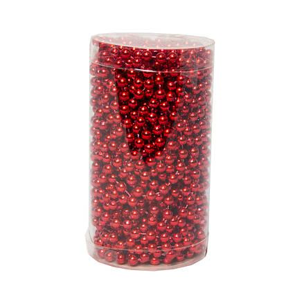 Пластиковые бусы, 6мм*15м, красный (890117)