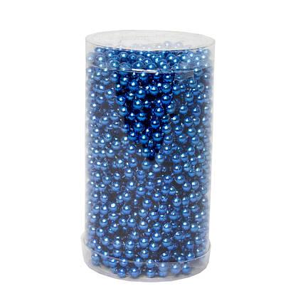 Пластиковые бусы, 6мм*15м, синий (890124)