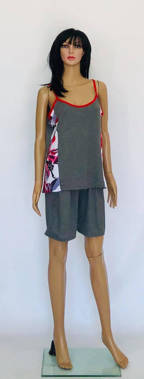 Трикотажная пижама больших размеров топ и шорты