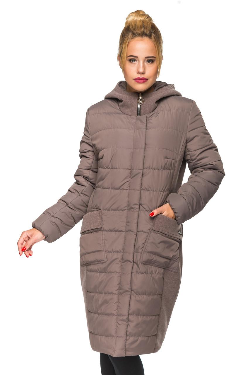 Удлинненная куртка большого размера Хлоя ( мокко)
