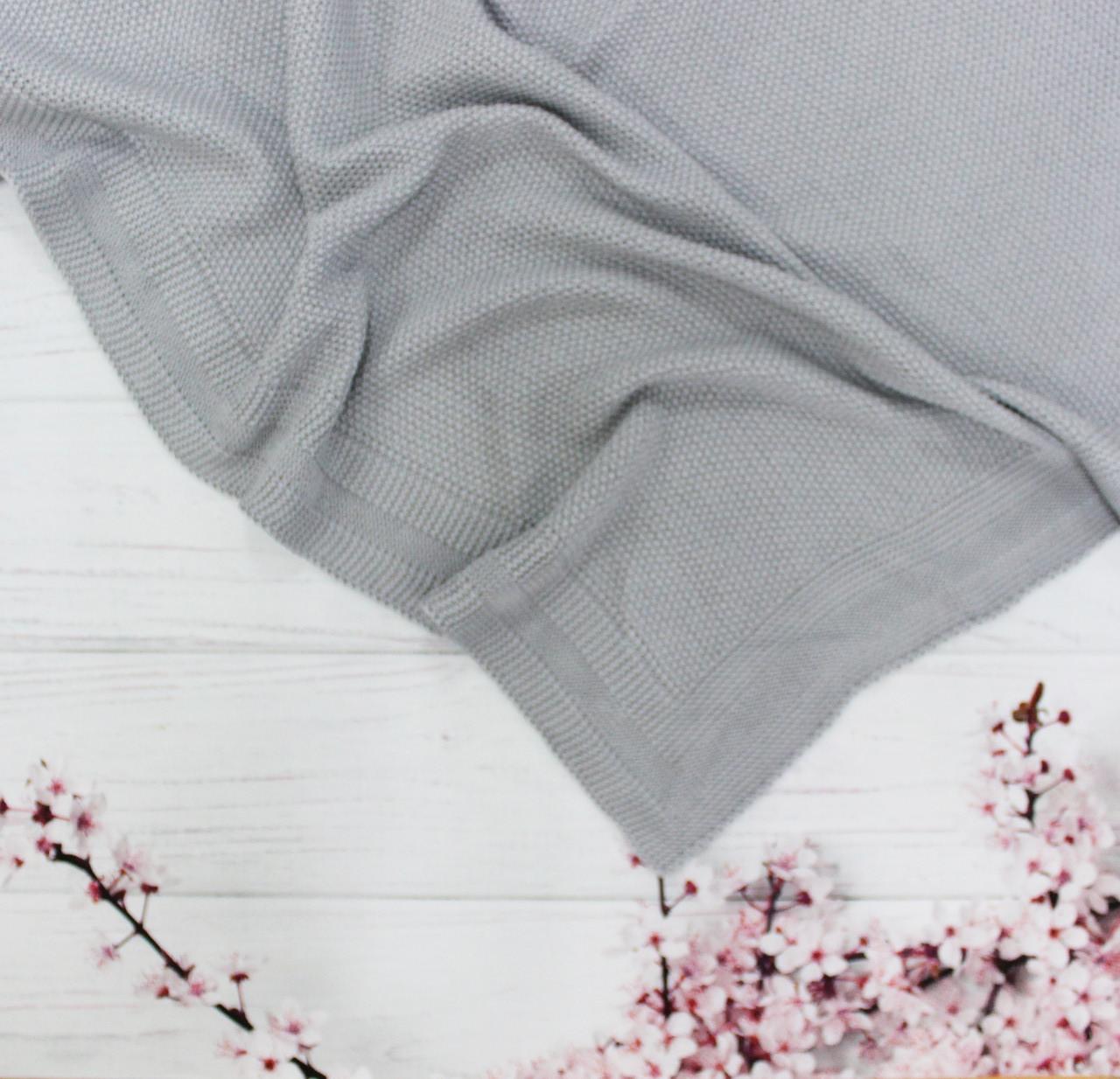 Плед вязанный гладкий цвет серый 95*75 см (90% хлопок, 10% акрил)