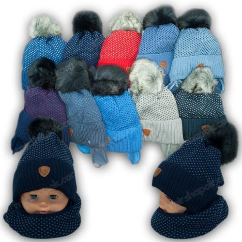 ОПТ Дитячий комплект - шапка і шарф (хомут) для хлопчика, р. 48-50 (5шт/набір)