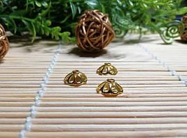 Обниматели для бусин, золото, 11 мм