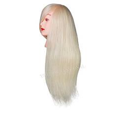 Голова для причесок с искусственными термо волосами светлые 18DY-W