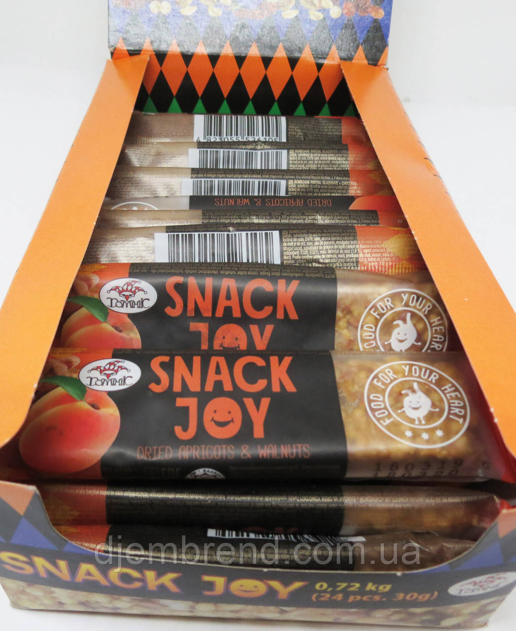 Мультизлаковый батончик Snack Joy с курагой и грецким орехом Доминик , 30 гр
