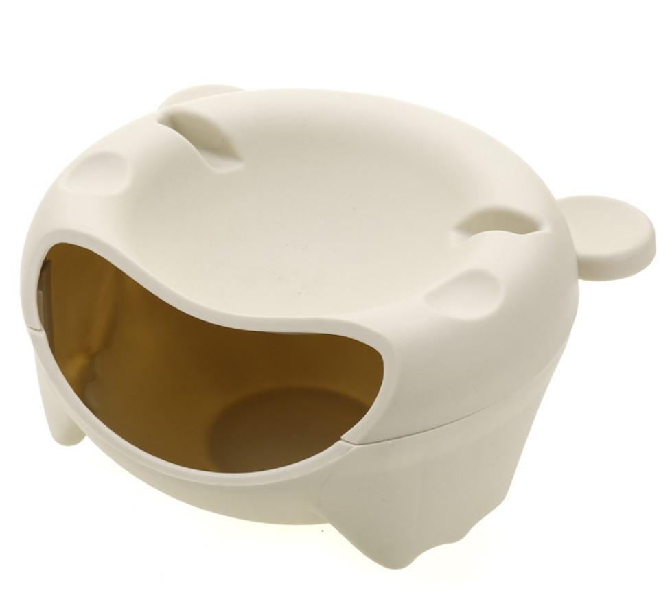 Подвійна тарілка-миска SUNROZ Bear Head  з відсіком для лушпиння і підставкою для телефону Бежевий (SUN5375)