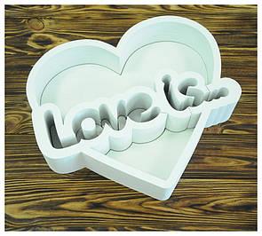 Пенобокс для цветов - Love is 39,5*34*10 ( крашеная белая)