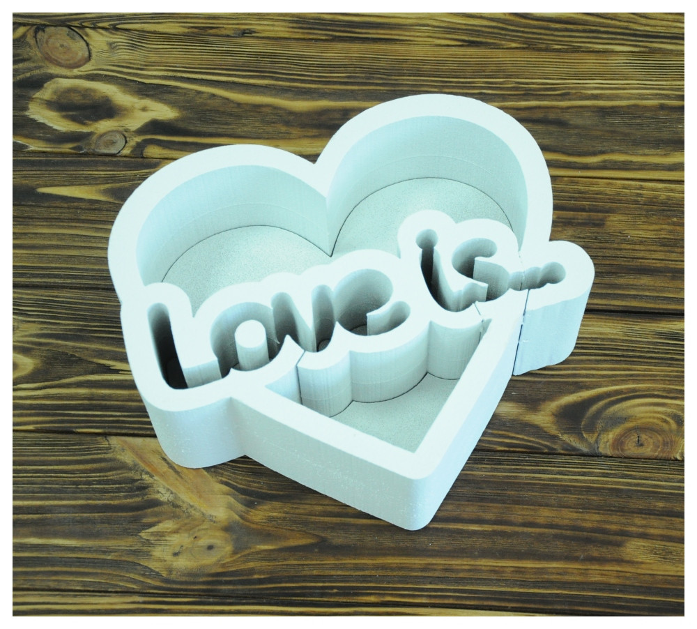Пенобокс для цветов - Love is 25*22*10 (крашеная белая)