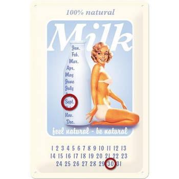 Настенный металлический календарь Nostalgic-Art Pin Up - Milk (20234)