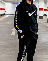 Зимний спортивный костюм , костюм на флисе Nike, черный с капюшоном