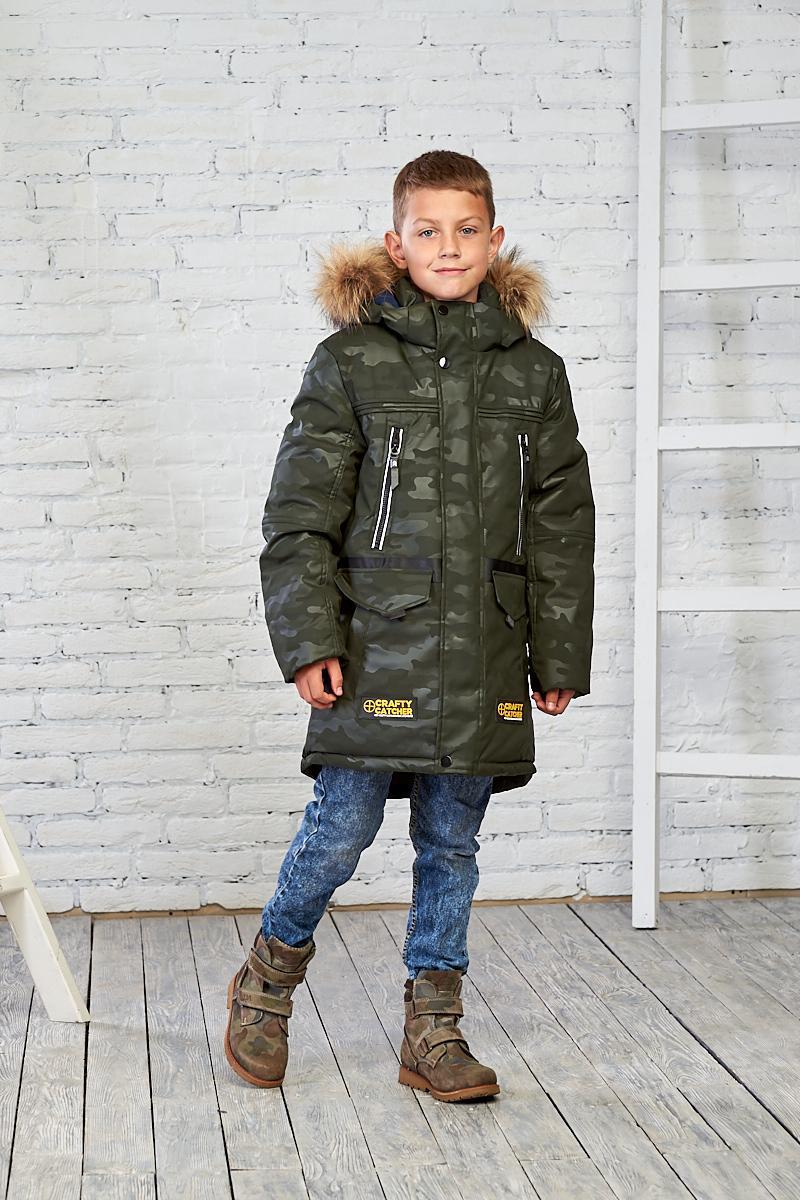 Зеленая камуфляжная зимняя куртка на мальчика 10-15 лет от Mazjuang
