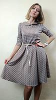Трикотажное платье с юбкой полусолнце П234