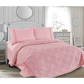 Постельное белье пике + сатин + кружево розовый