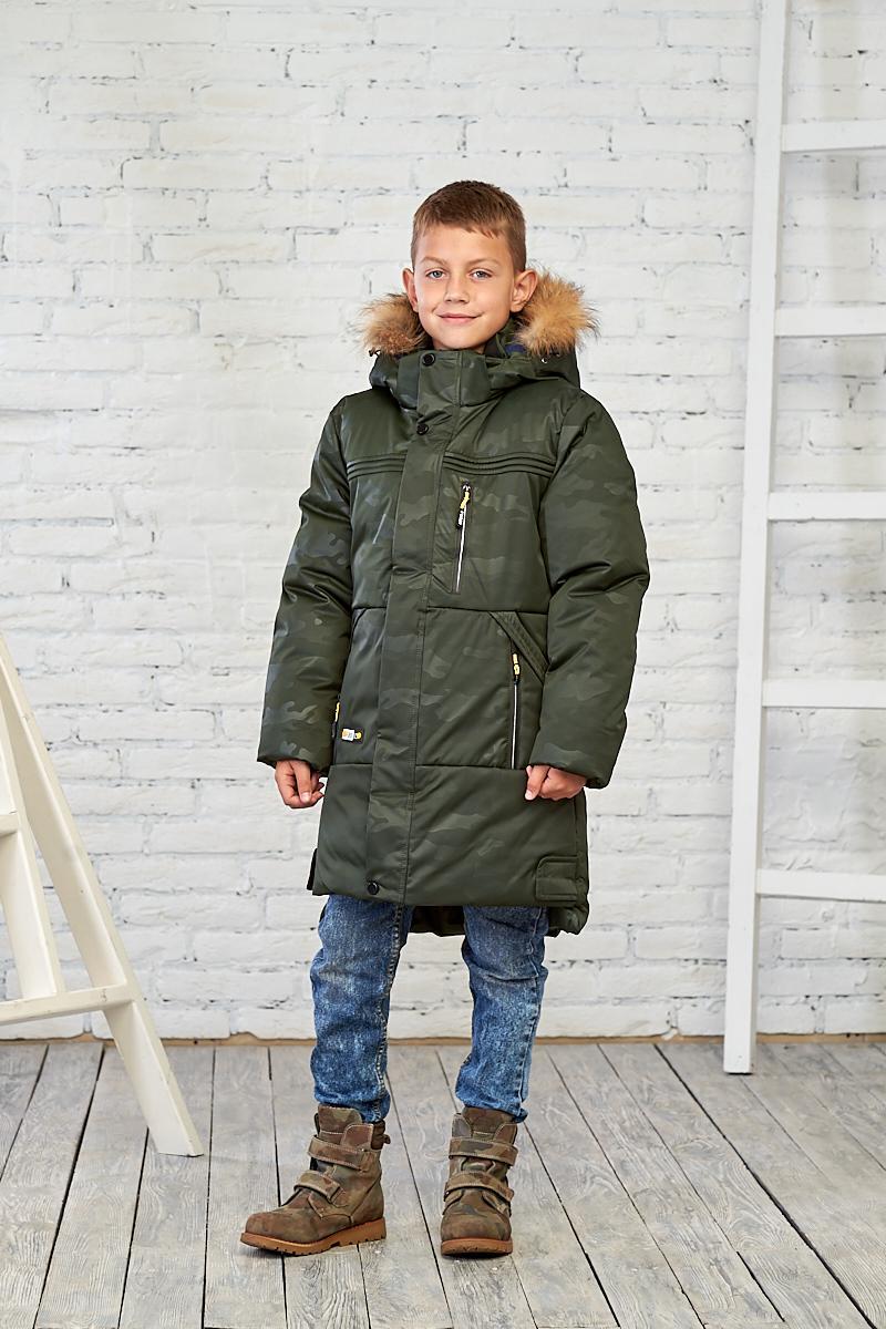 Зеленая камуфляжная зимняя куртка на мальчика 10-16 лет от Mazjuang